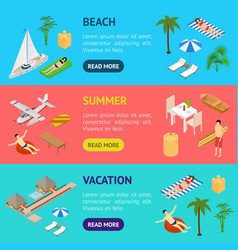 beach vacation banner horizontal set 3d isometric vector image