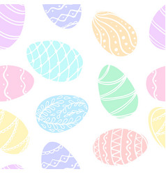 beautiful seamless pattern doodle easter eggs vector image
