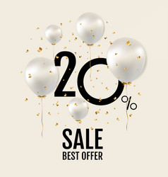 big sale poster with white balloons vector image