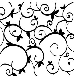 Black paisley outline pattern on white isolated vector