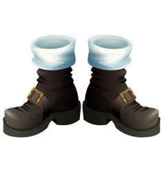 Black shoes with gold buckles santa claus boots vector