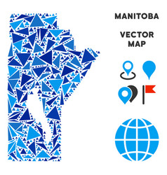 Blue triangle manitoba province map vector