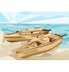 Boats at sea vector