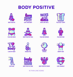 Body positive thin line icons set woman plus vector