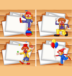 border template with funny clowns vector image