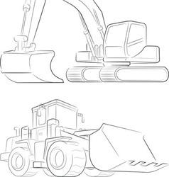 Bulldozer Excavator Line Art vector