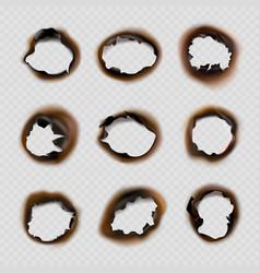 Burned holes paper grunge designs of fire damaged vector
