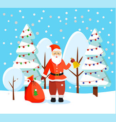 christmas holidays santa with bell and presents vector image