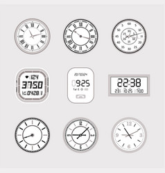 Clocks - set of modern isolated objects vector