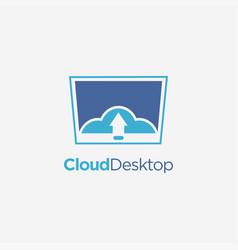 cloud computer screen desktop logo icon template vector image