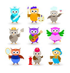 collection cartoon owls of different professions vector image
