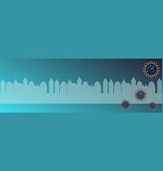covid19-19 virus on blue city silhouette vector image