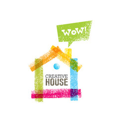 Creative house decoration with colorful abstract vector