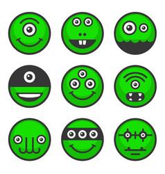 Cute alien monsters set green avatar icons vector