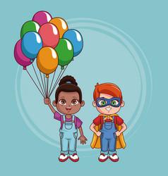 cute kids couple cartoon vector image