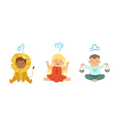 cute little kids wearing as zodiac signs set leo vector image