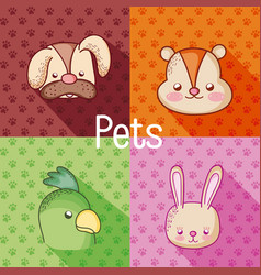 Cute pets cartoons vector