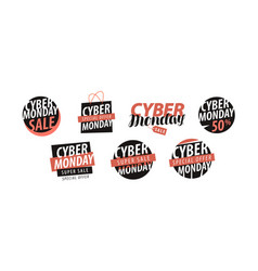 Cyber monday logo or label sale closeout vector