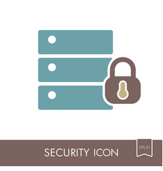 database sign and padlock icon vector image