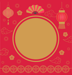 empty banner with asian festive ornament vector image