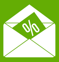 envelope with percentage icon green vector image