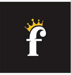 f initial letter logo with crown logo template vector image