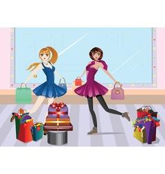 Fashion girls at shopping4 vector