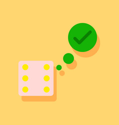 Flat icon design collection dice and check mark vector
