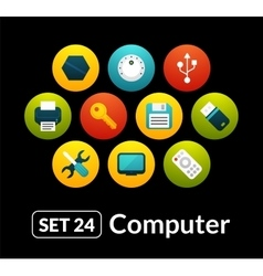 Flat icons set 24 - computer collection vector image