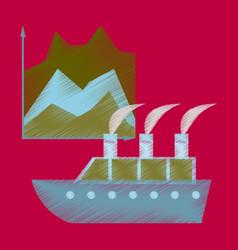 flat shading style icon cruise ship infographic vector image