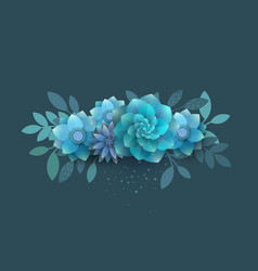 flower composition of paper blue flowers vector image
