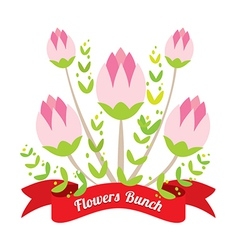 Flowers Bunch With Red Ribbon vector image