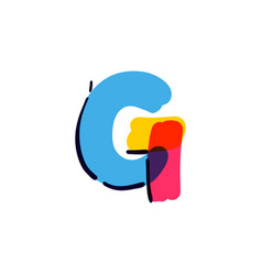 G letter logo handwritten with a multicolor vector