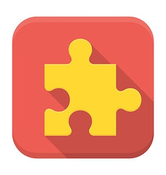 Game puzzle flat app icon with long shadow vector image