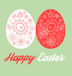 Greeting card with painted easter eggs vector