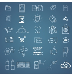 Hand draw social media sign and symbol doodles vector