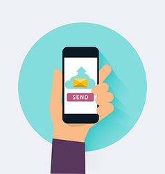 Hand holding mobile smart phone app with send vector image
