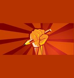 Hand holding pencil education reform revolution vector