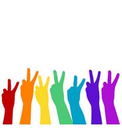 Hands showing victory sign in rainbow colors vector