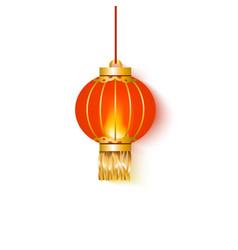 hanging red glowing chinese lantern round shape vector image