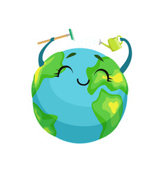 Happy earth planet character cleaning itself with vector