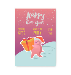 happy new year poster cute pig symbol 2019 year vector image