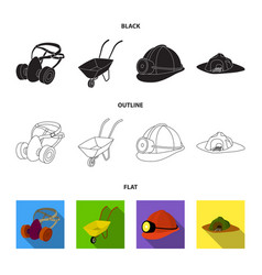 Headphones and raspirator wheelbarrow helmet vector