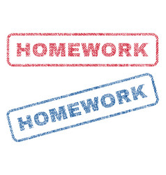 Homework textile stamps vector