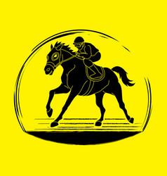 horse racing horse with jockey vector image