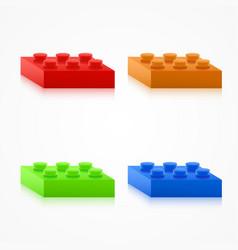Isometric colorful plastic building blocks vector