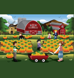 Kids on a pumpkin patch trip in autumn or fall vector