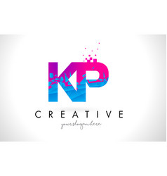 kp k p letter logo with shattered broken blue vector image