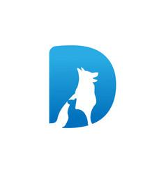 Letter d negative space pets logo vector