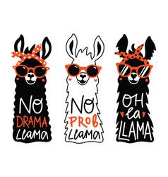 llama set in red sunglass and headband no prob vector image